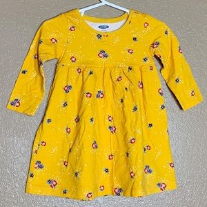 Old Navy yellow floral jersey fit and flare dress